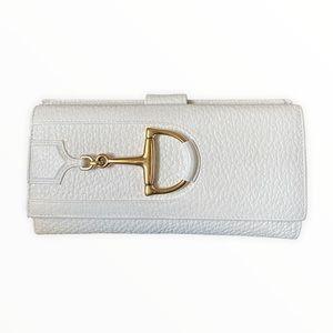 Gucci Wallet   Gucci Horsebit Wallet White Pebble Leather